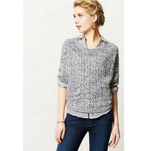 MOTH Anthropologie Gray Marled Crop Boxy Sweater M
